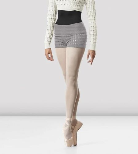 BLOCH Ladies Dance Cotton Textured Knit Shorts Warm Up R5504 Sonoma Grey Marle